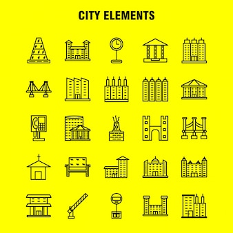 City elements line icons set