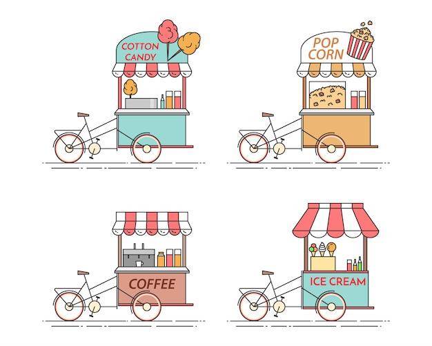 커피, 팝콘, 아이스크림, 솜사탕 자전거의 도시 요소. 바퀴에 카트. 음식과 음료 키오스크. 벡터 일러스트입니다. 플랫 라인 아트. 건축, 주택, 부동산 시장 요소