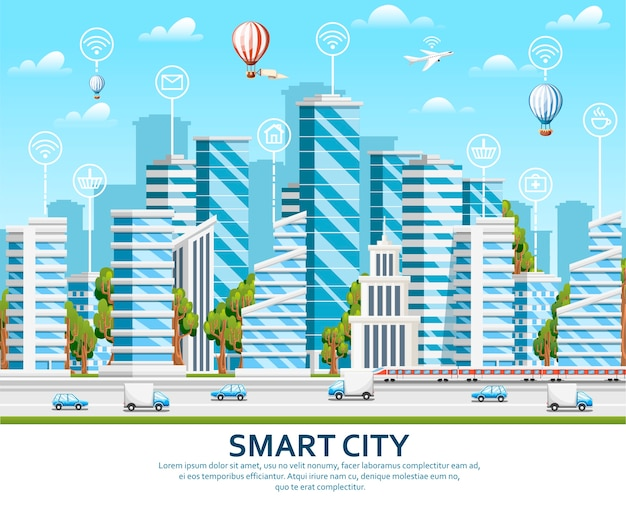 City  elements with green trees. smart city concept with smart services and icons, internet of things.  illustration on sky with cloud background. web site page and mobile app.