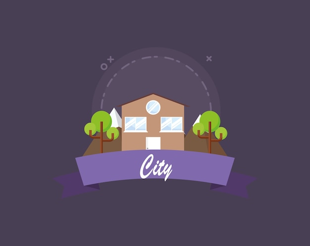 City emblem with trees and house icon