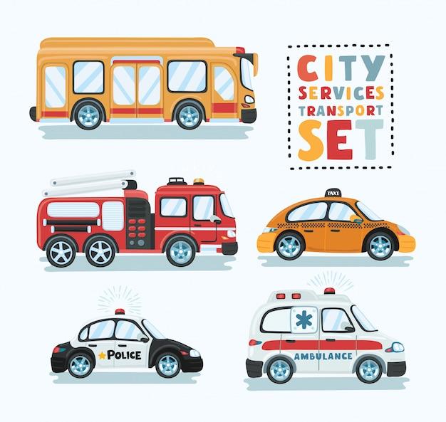 市の緊急輸送セット。救急車、レッカー車、スクールバス、パトカー、消防車のイラスト。サービス自動車、都市社会車、道端での援助輸送。