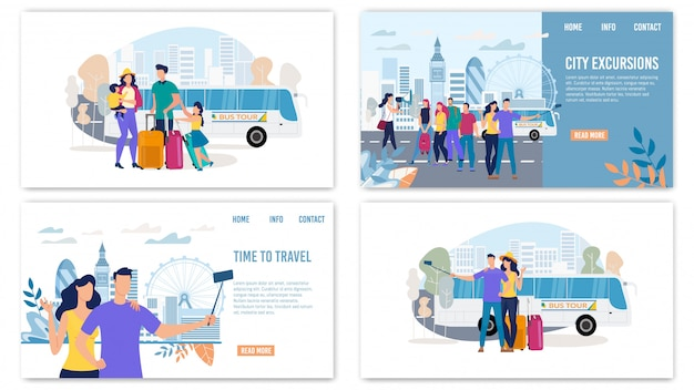 City excursions flat landing pages set