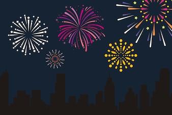 City fireworks vector