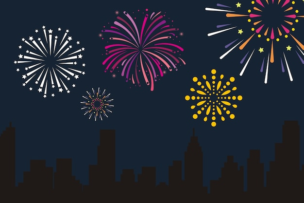 City fireworks vector