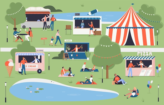 가족과 함께하는 마을 도시 공원 여름지도에서 도시 음식 축제 이벤트