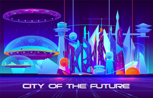 City of future cartoon  banner. futuristic architecture skyscrapers buildings fluorescent