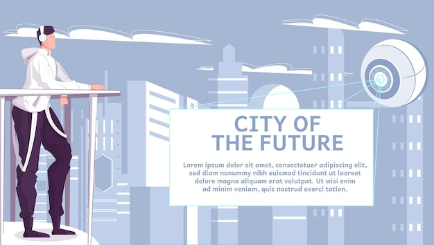 City of future flat illustration with teen looking at abstract futuristic object radiating light rays and flying over skyscrapers