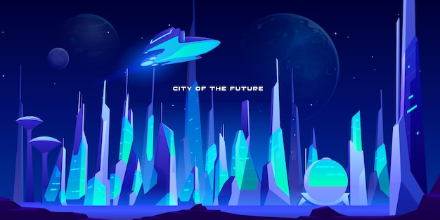 City future at night in neon lights illustration