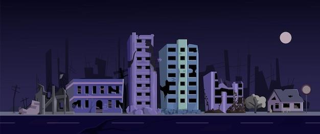버려진 집이 있는 야간 겁에 질린 도시 빈민가 거리. 길가 포스트 묵시록 도시 풍경 벡터 일러스트 레이 션에 깨진 창과 벽과 오래 된 건물 황폐 한 주거