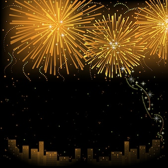 City and golden firework