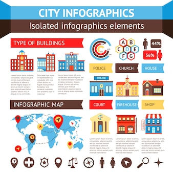 City government building infographic set with charts and world map vector illustration