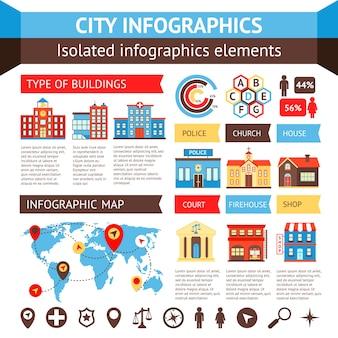 도시 정부 건물 infographic 차트 및 세계지도 벡터 일러스트 레이 션 설정