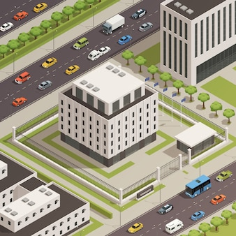 City government buildings isometric