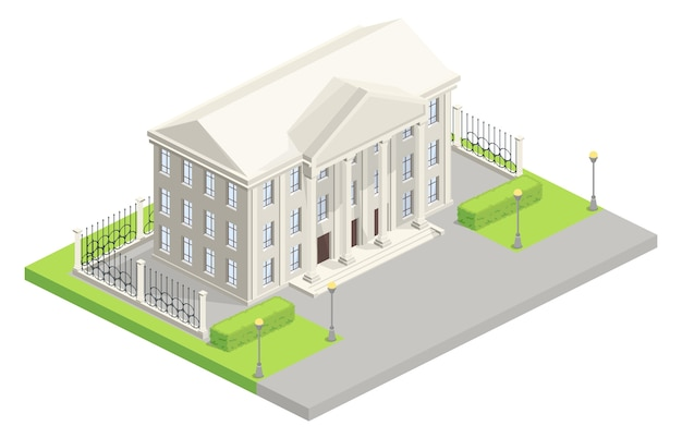 City hall parliament isometric illustration