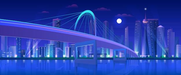 City highway night bridge, modern urban neon futuristic skyline