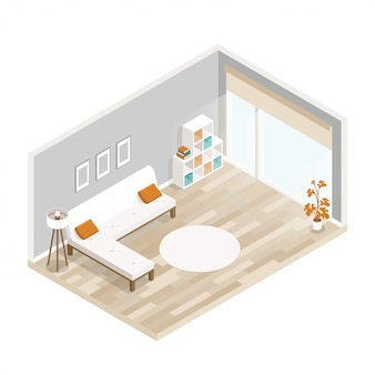 City hotel flat illustration with living room furniture