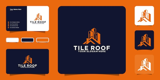 도시 집 지붕 회사 로고 및 명함 영감