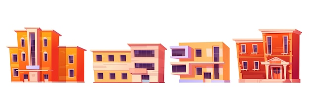 都市住宅、アパート、オフィスまたは白い背景で隔離の店のための建物。モダンでクラシックなスタイルの住宅、ビジネス、商業建築のファサードの漫画セット