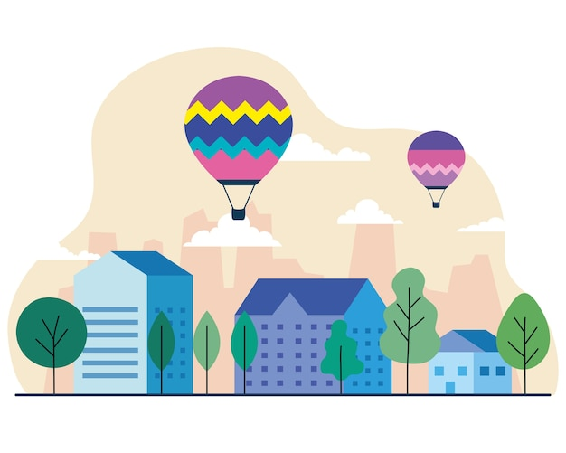City houses with hot air balloons trees and clouds design, architecture and urban theme