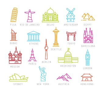 City icons in color flat style with names of cities.