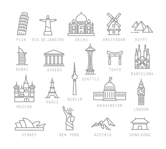 City icons in flat style