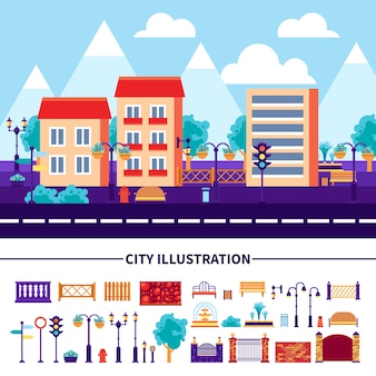 City illustration icons set