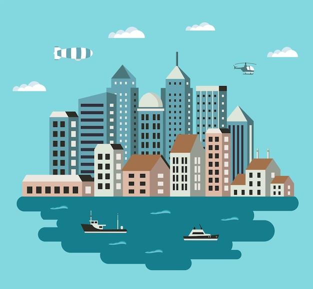 Городская иллюстрация в плоском стиле зданий, домов, небоскребов. тема городского и промышленного дизайна.