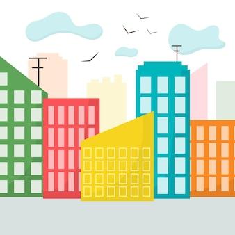 街のイラスト建物や木々のある街街の風景フラットスタイルベクトルイラスト
