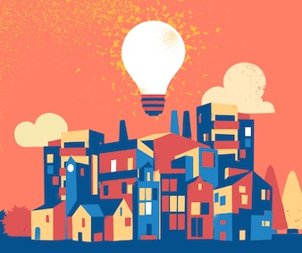 City illustration with light bulb
