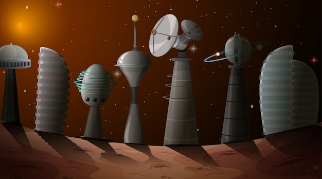 우주 장면에서 도시