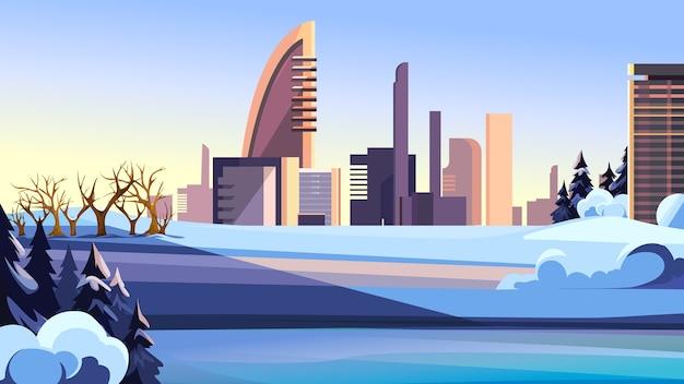 겨울 시즌에 도시. 현대적인 건물과 아름다운 풍경.