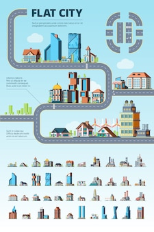 City infographic. cityscape municipal buildings urban road architectural elements creation kit