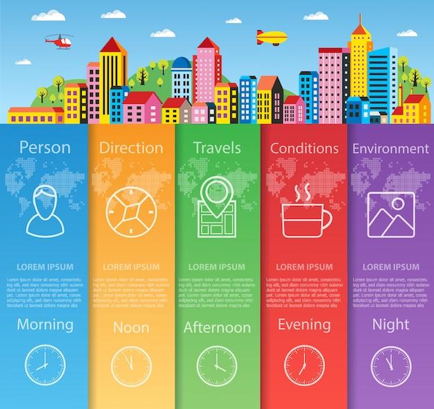 City infographics in flat style  business information