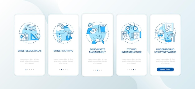 City infrastructure blue onboarding mobile app page screen with concepts