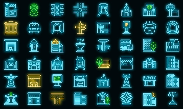 City infrastructure icons set. outline set of city infrastructure vector icons neon color on black
