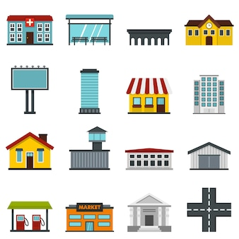 City infrastructure items set flat icons