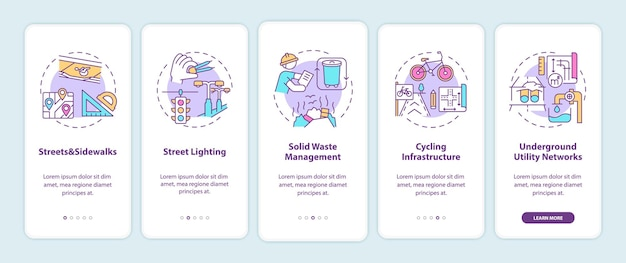 City infrastructure onboarding mobile app page screen with concepts illustrations