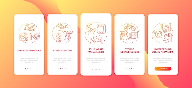 City infrastructure red onboarding mobile app page screen with concepts. public service and facility walkthrough 5 steps graphic instructions. ui template with rgb color illustrations