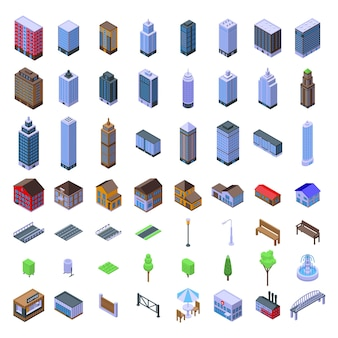 Установлена городская инфраструктура. изометрические набор городской инфраструктуры для веб-дизайна на белом фоне