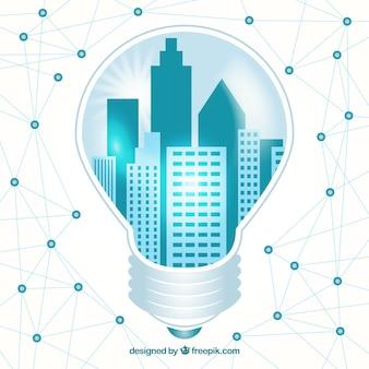 City inside a lightbulb technological background