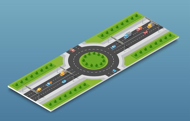 City isometric freeway traffic on the street road