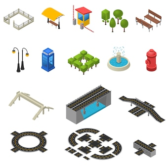City isometric icons set