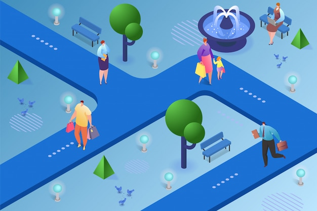 City isometric  illustration. people man woman character walking in park, urban lifestyle outdoor . town road