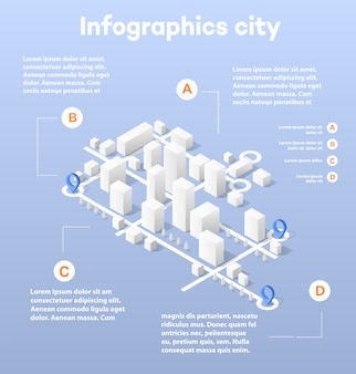 City isometric map, consisting of city skyscrapers