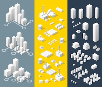 City isometric map, consisting of skyscrapers city