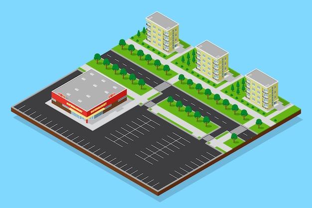Городской изометрический план спальных кварталов с супермаркетом, дорогами, пешеходными дорожками, деревьями и жилыми домами. плоское трехмерное изображение зоны общежития.
