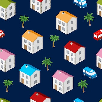 City isometric seamless pattern of the house, transportation, repetitive background
