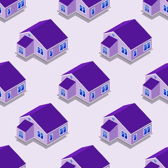 City isometric seamless pattern of the house, transportation, repetitive properties