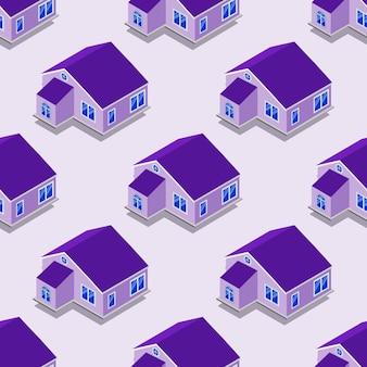 家、交通機関、反復プロパティの都市アイソメトリックシームレスパターン