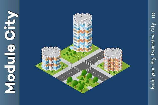 City isometric of urban
